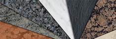 Selection Natursteine: Granit, Buntmarmor, Kalkstein, Schiefer und SolKer