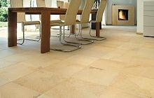 Solnhofener Naturstein als Bodenbelag im Esszimmer